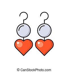 earring line flat icon