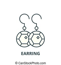 Earring line icon, vector. Earring outline sign, concept symbol, flat illustration