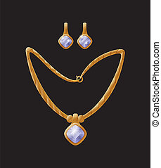 Earring Necklace Collection Vector Illustration