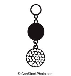 Earring silhouette illustration - Isolated silhouette of a...