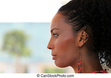 earrings., acconciatura, donna, afro, nero