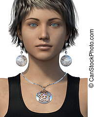 Earrings and necklace on a woman