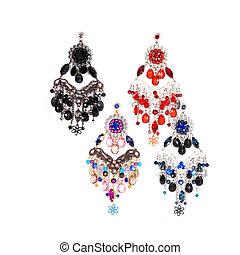 earrings bijouterie isolated over white background