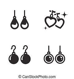 Earrings icons set