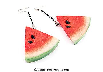Earrings in a form of watermelon
