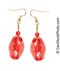 Earrings in red glass with gold elements isolated on a white background. Collage.