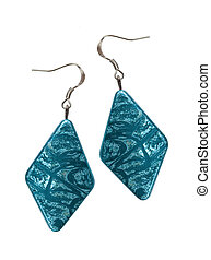 Earrings in silver diamond-shaped blue on a white background