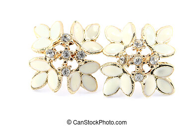 Earrings isolated on a white background
