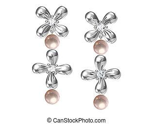 Earrings isolated on white (3D rendering)