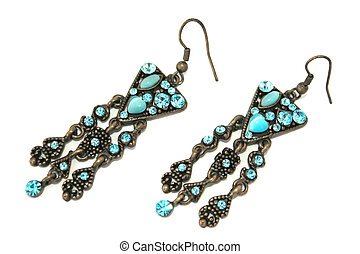 Nice earrings with blue stones isolated on the white.