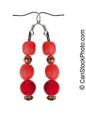 Earrings of red beads with gold elements on a white background