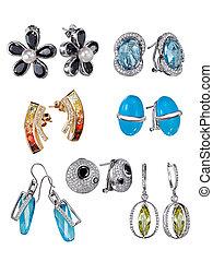 earrings, z, klejnoty, odizolowany, na białym, tło