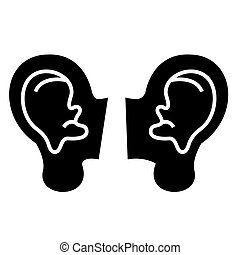 ears icon, vector illustration, black sign on isolated background