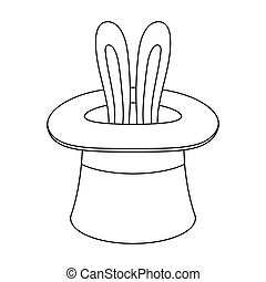 Ears of a hare in a hat. Foci.Party and parties single icon in outline style vector symbol stock illustration.