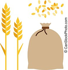 Ears of corn and a bag of wheat flat icon vector isolated