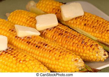 ears, of, roasted, кукуруза, with, масло