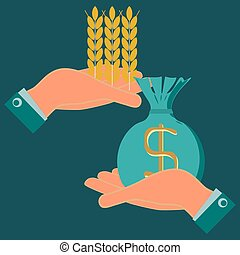Ears of wheat and a bag of money in hands. Money in exchange for food. Exchange of grain. Help hungry.  Investments in agriculture. Payment of bread. Money in food trade, agribusiness, agrobusiness.