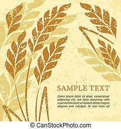 Ears of wheat background on grange - Stylized background...