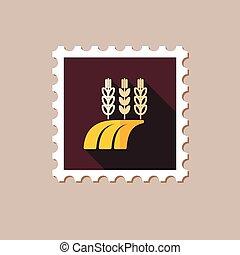 Ears of Wheat, Barley or Rye on Field flat stamp