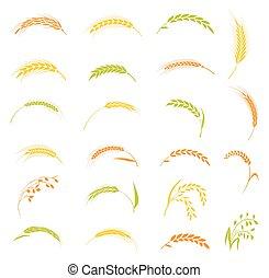 Ears of wheat bread symbols.