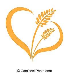Ears of wheat heart on a white background. Barley, rye.