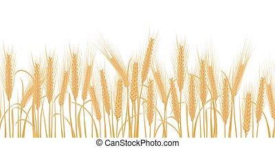 Ears of wheat horizontal border seamless pattern