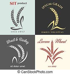 Ears of wheat logo set