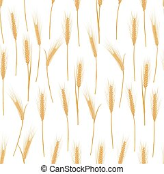 Ears of wheat on a white background seamless pattern