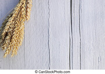 Ears of wheat on a white wood background