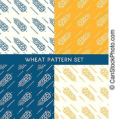 Ears Of Wheat Seamless Patterns Set