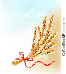 Ears of wheat  with red ribbon. Vector illustration.