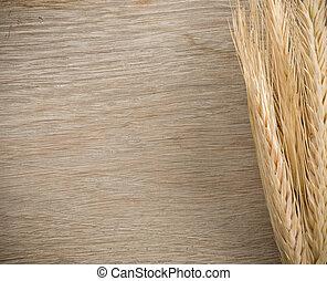 ears spike of wheat on wood