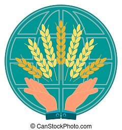 Ears with Golden grains of wheat in his hands on globe. Agribusiness, investment in agriculture. To save the harvest.