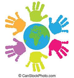 eart, nyomtat, gyerekek, mindenfelé, kéz