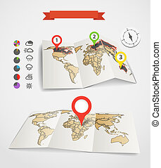 Eartgh maps set with weather icons and pie charts