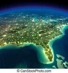 earth., éjszaka, florida, öböl, mexikó