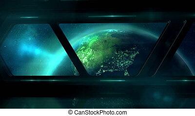 earth., корабль, вверх, летающий, иллюминатор