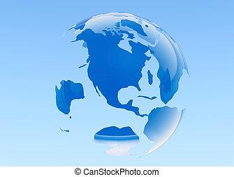 earth., 3d, azul, rendered., planeta, experiência.