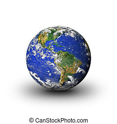 earth - 3d Earth planet on white background