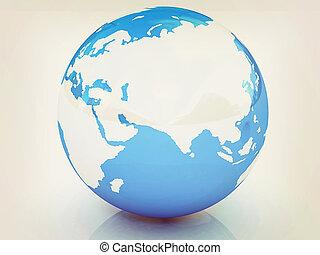 Earth. 3D illustration. Vintage style.