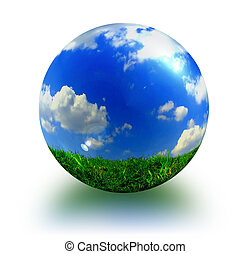 abstract picture about sphere with blue sky, white clouds and green grass