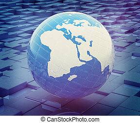 earth against abstract urban background . 3D illustration. Vintage style.