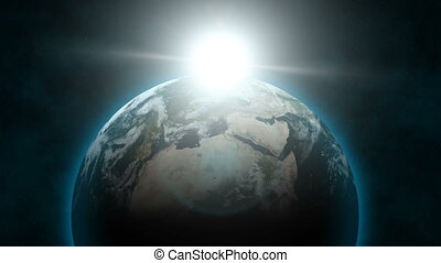 Earth Aligned Sunrise (60fps) - From outer space, planet...
