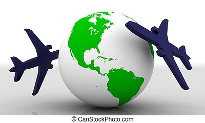 Earth and airplane