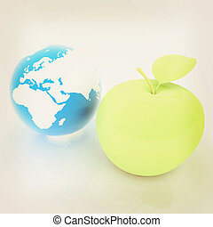 Earth and apple. Global dieting concept. 3D illustration. Vintage style.