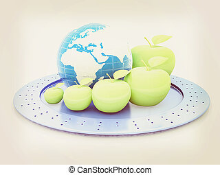 Earth and apples around - from the smallest to largest. Global dieting concept. 3D illustration. Vintage style.