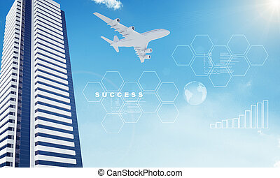 Earth and business center on blue sky background