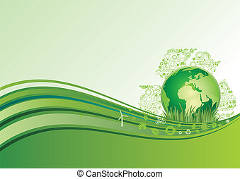 earth and environment icon, green ba - vector background of ...
