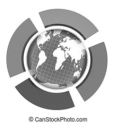 Earth and four semi-circle. 3d button - Earth and four...