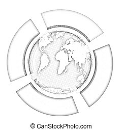 Earth and four semi-circle. 3d button